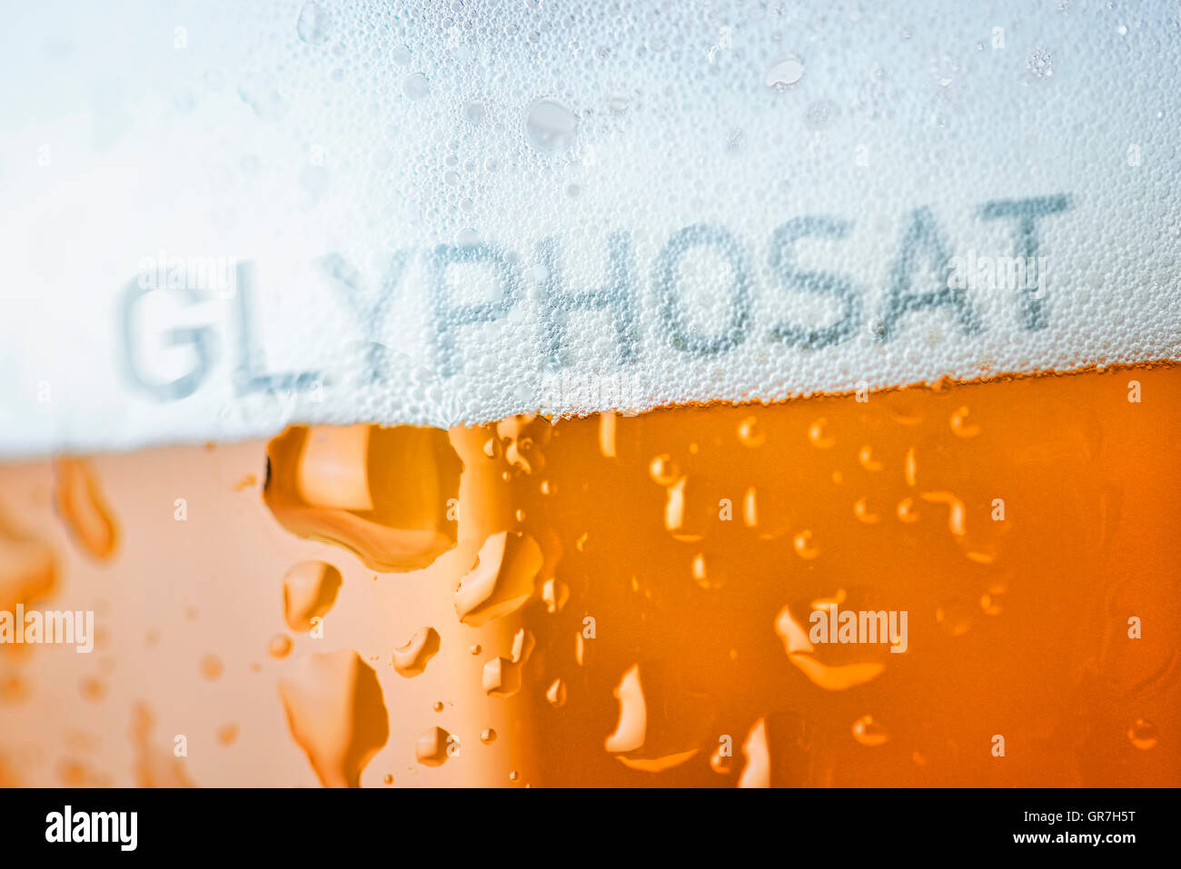 Beer Contaminated By Glyphosat - Stock Image