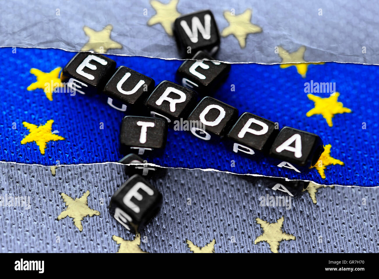 Letter Cubes On The Flag Of Europe - Stock Image