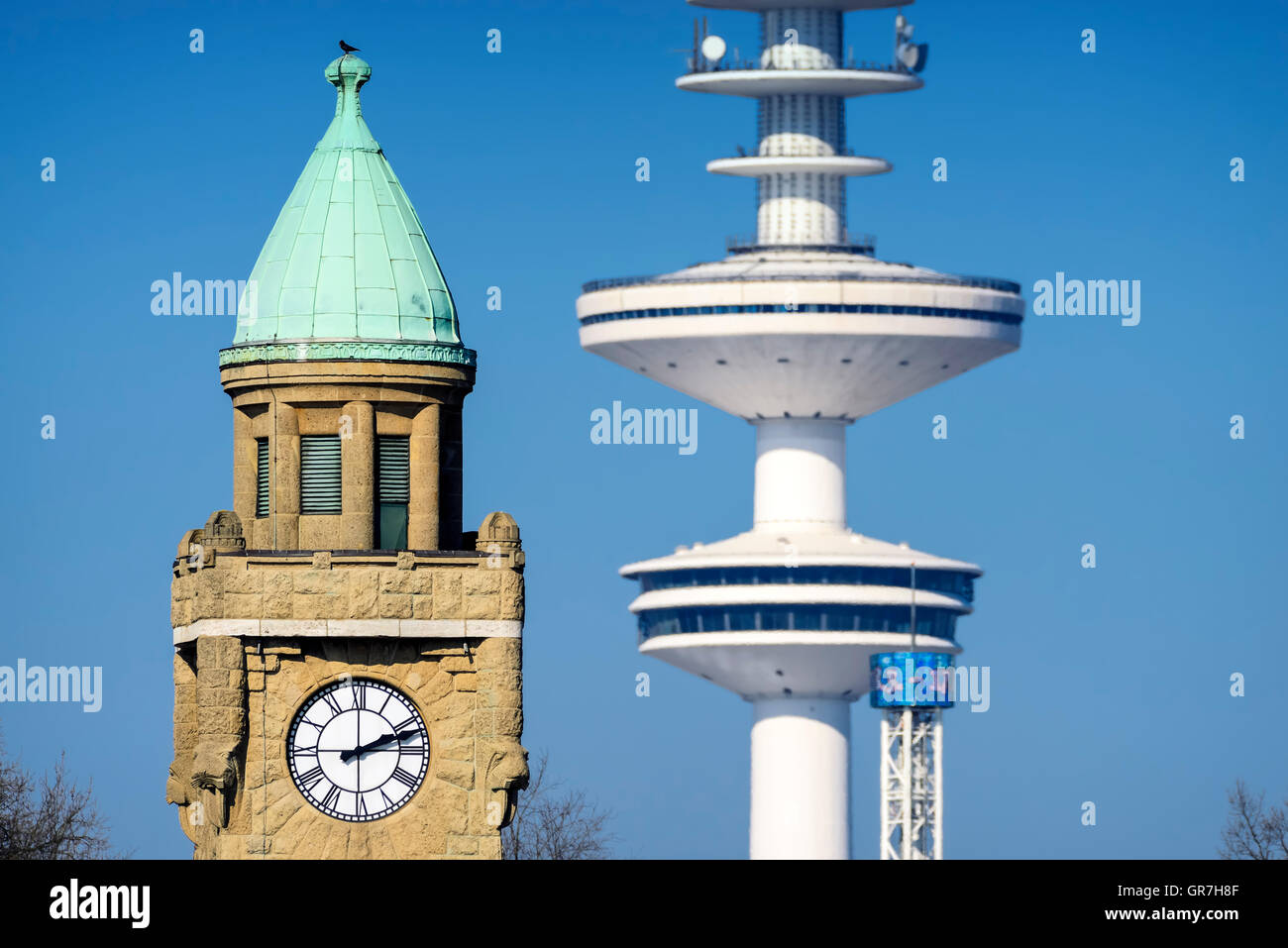 Tower Of The St. Pauli Landungsbruecken And Television Tower In Hamburg, Germany - Stock Image