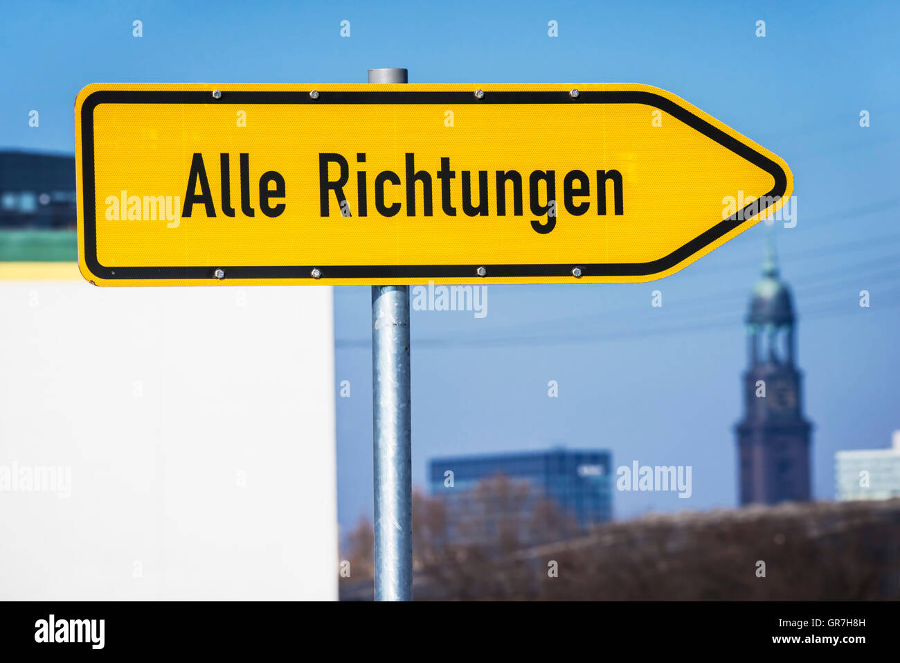 St. Michael S Church And Signpost In Hamburg, Germany - Stock Image
