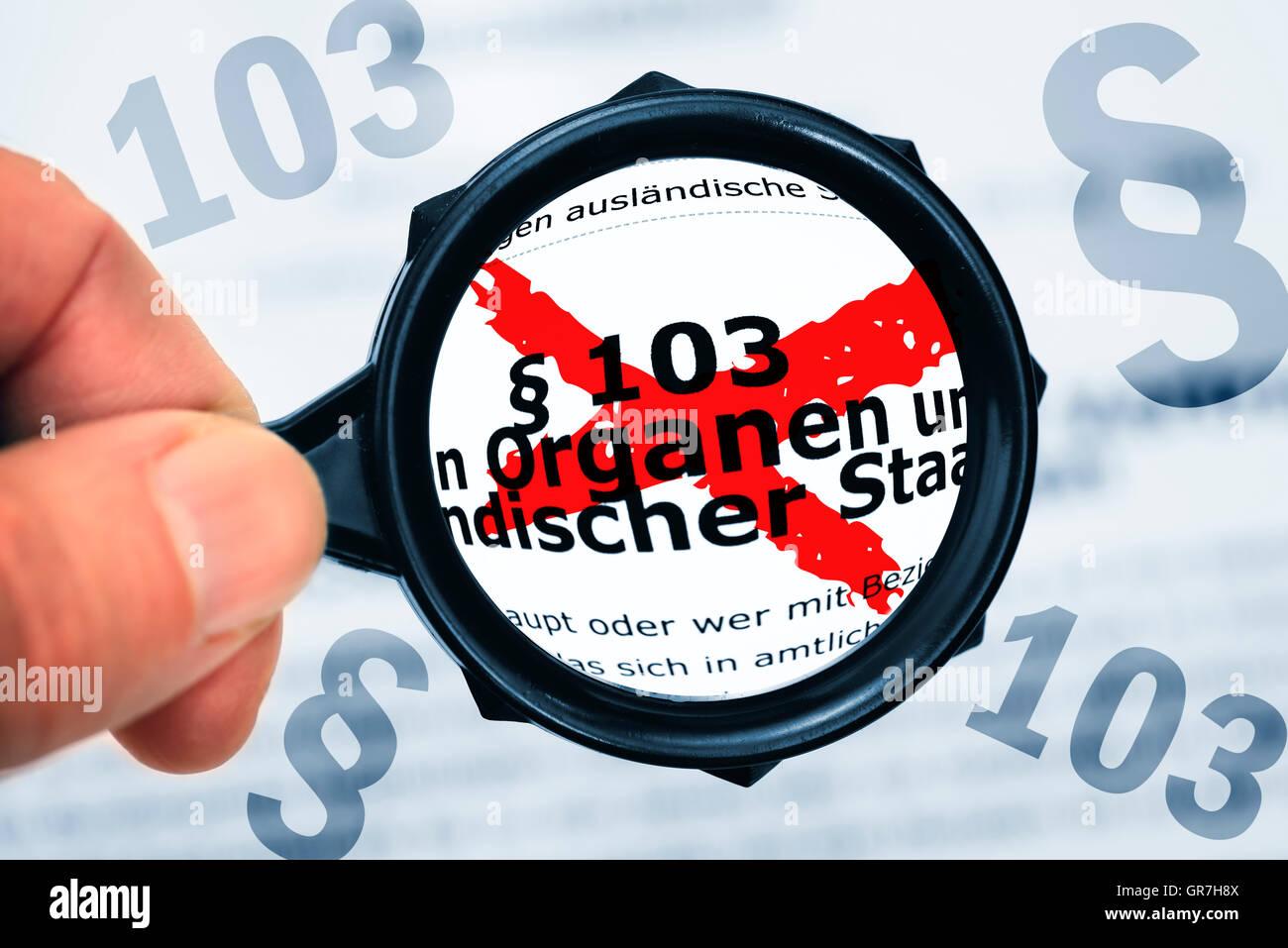 Public German Penal Law, Article 103 - Stock Image