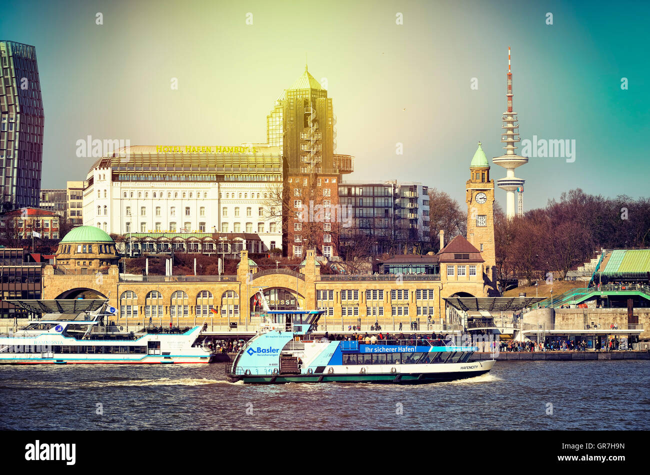 St. Pauli Piers In Hamburg, Germany - Stock Image