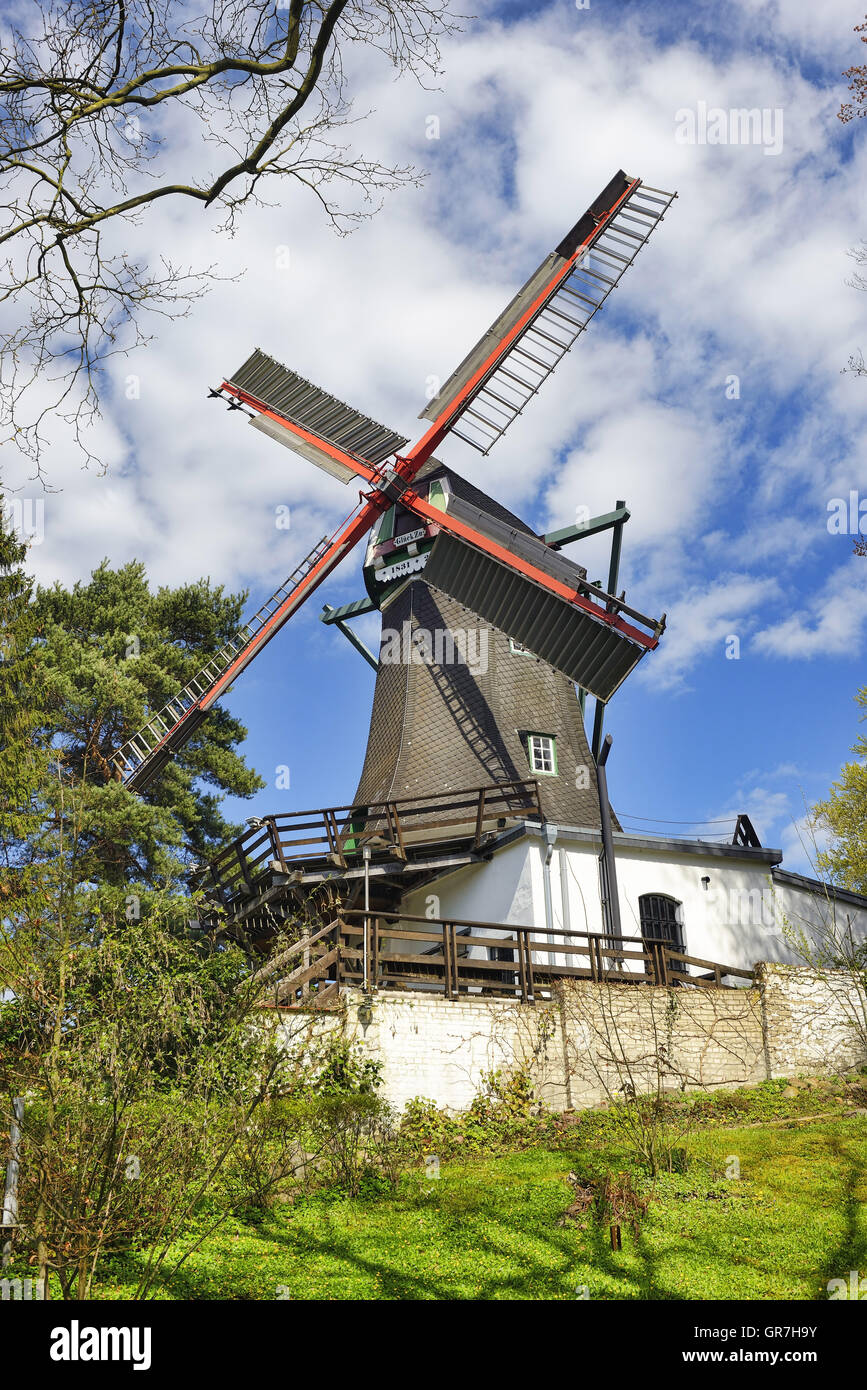 Windmill In Bergedorf, Hamburg, Germany - Stock Image
