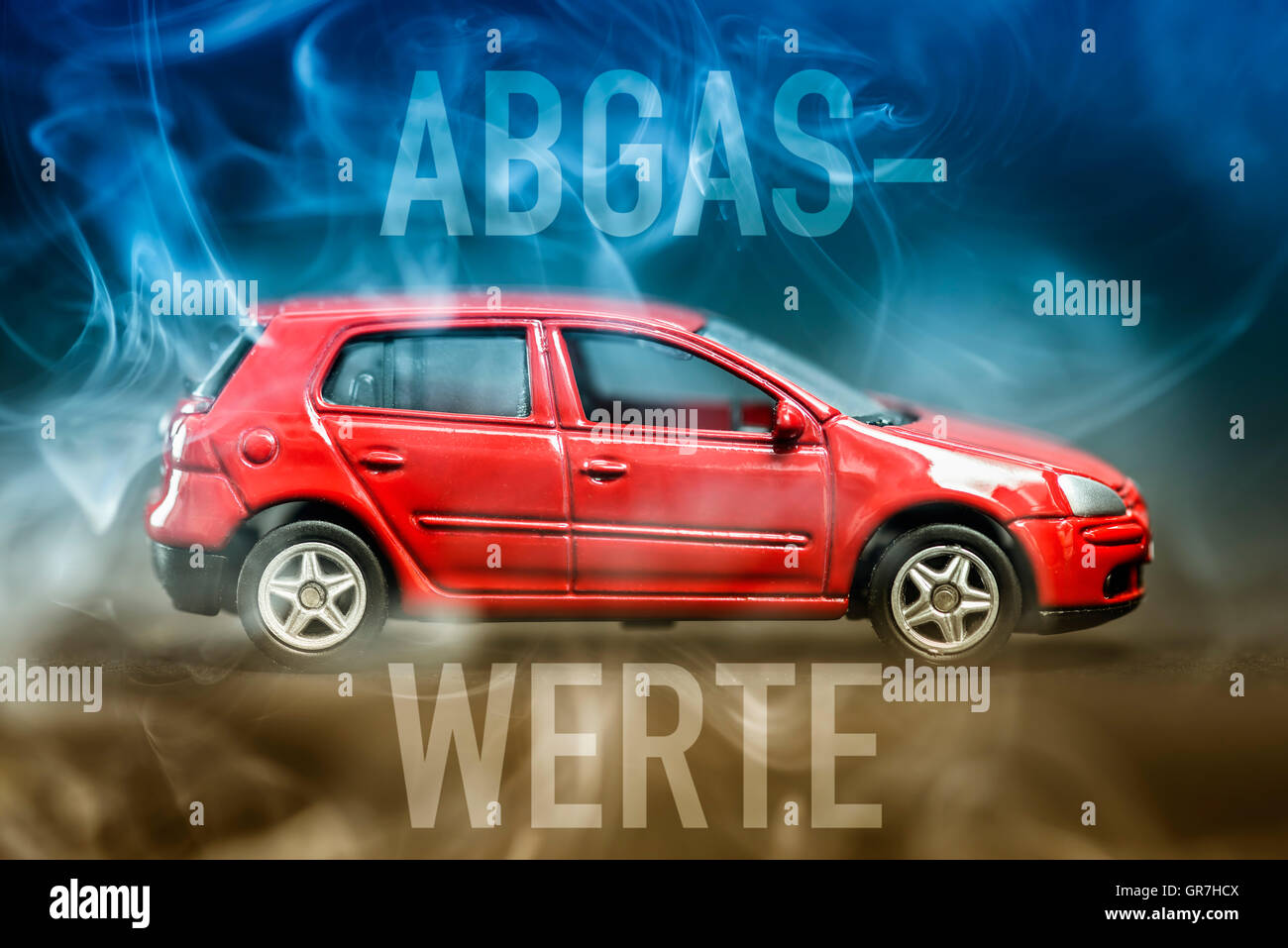 Miniature Car And Exhaust Gases - Stock Image