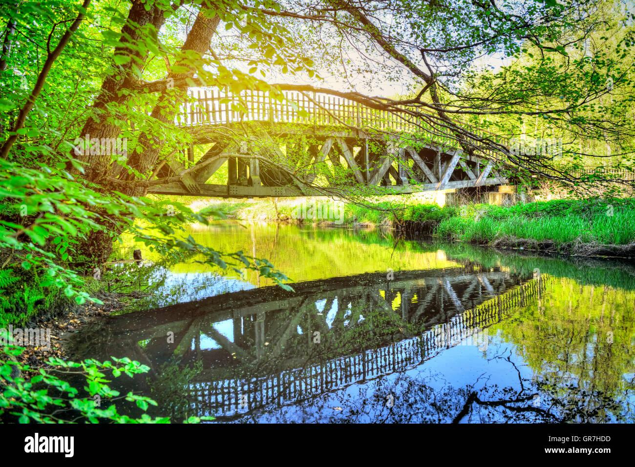 River Bille In Bergedorf, Hamburg, Germany - Stock Image