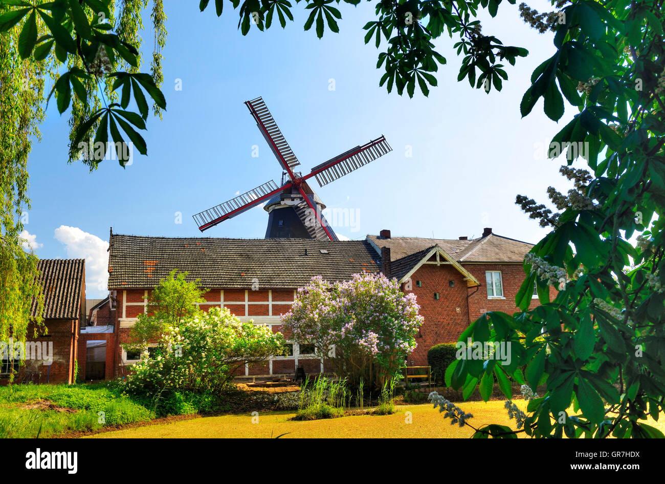 Windmill Boreas In Kirchwerder, Hamburg, Germany - Stock Image