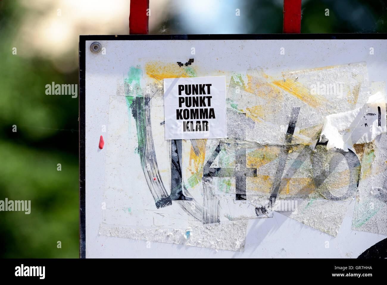 Poetry Slogan Sticker In Hamburg, Germany - Stock Image