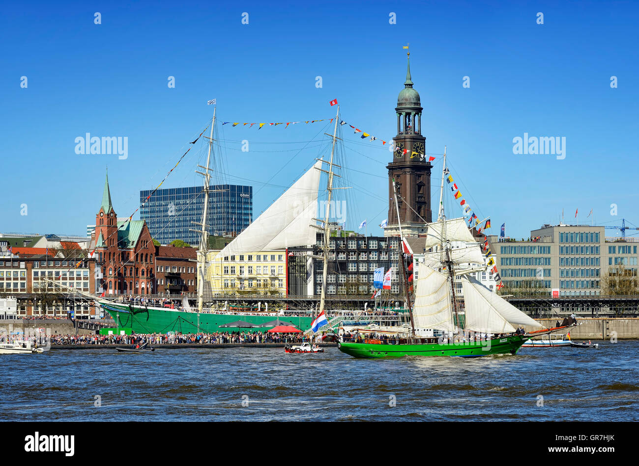Sailing Ship Avatar At Hamburg Port Anniversary In Germany - Stock Image
