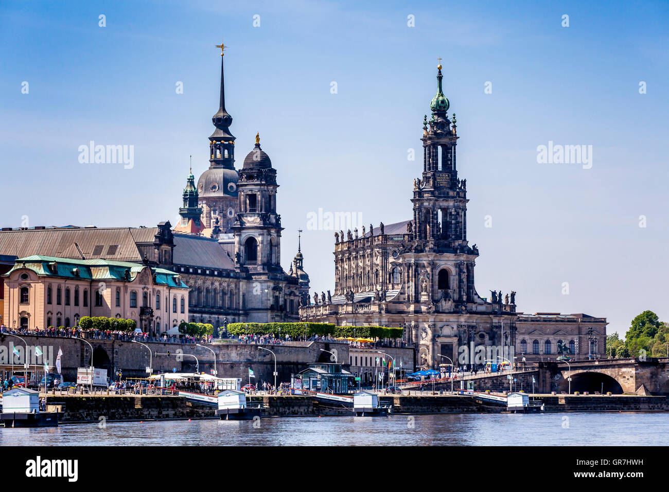 View Over The Elbe To The Historic City Center Of Dresden Stock Photo