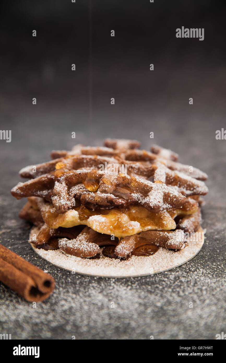 Belgian chocolate waffles - Stock Image