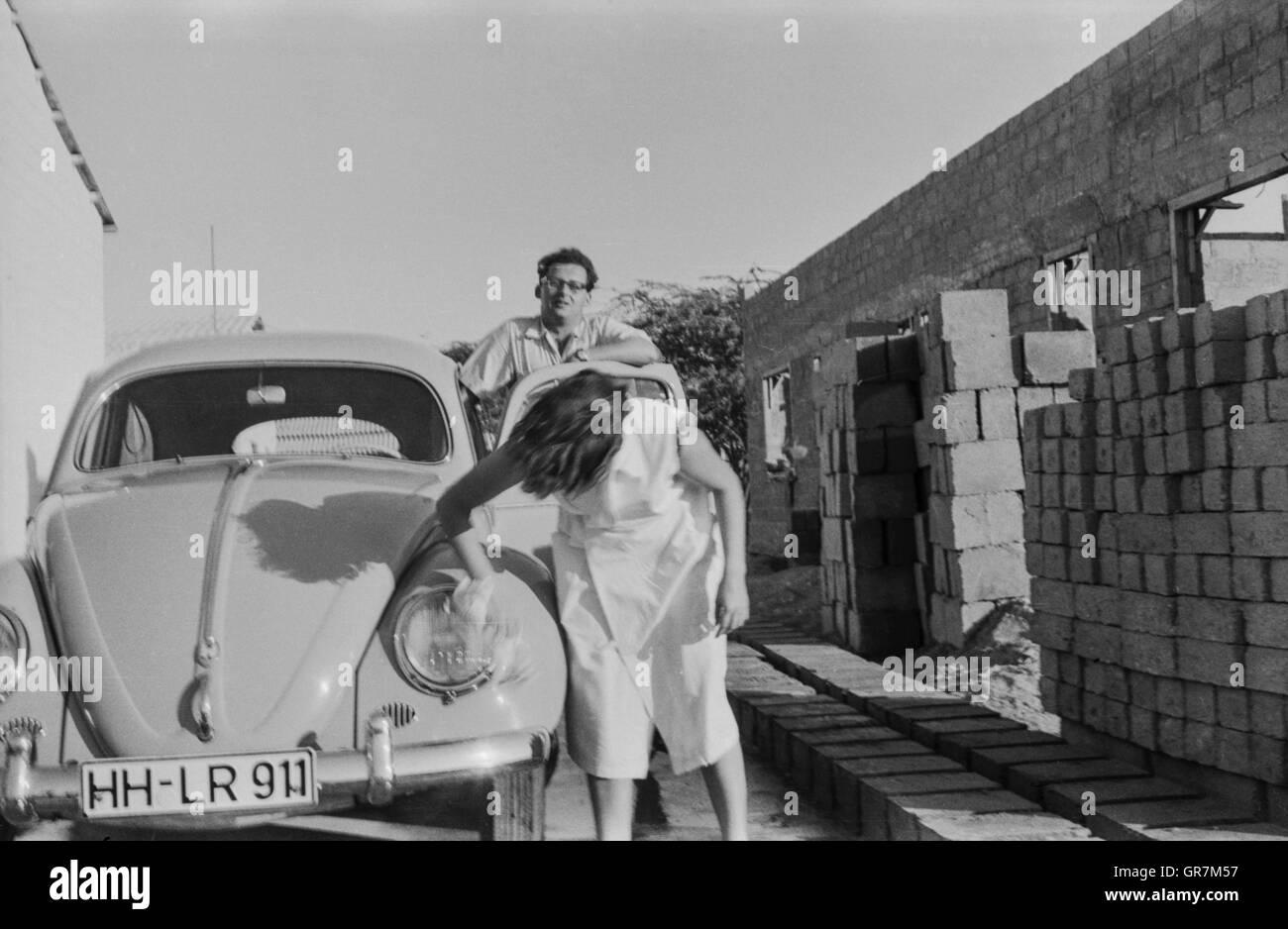 Vw Beetle 1960 Bw - Stock Image