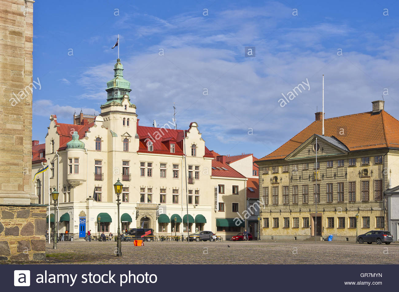 Kalmar, Sweden, View Across The Stortorget Main Place To The City Hotel And Radhuset Building. - Stock Image