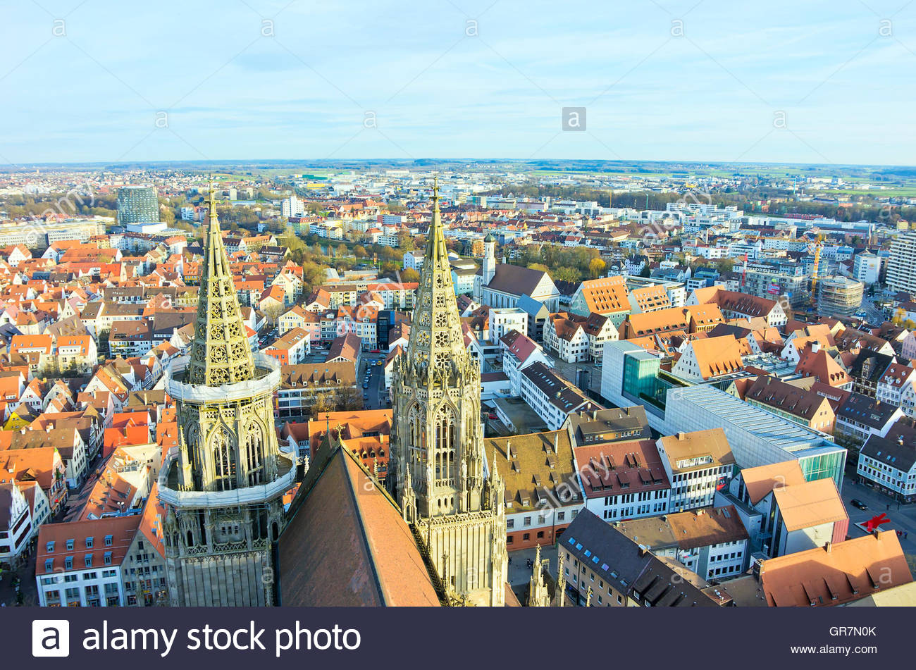 View From The Ulm Minster Overlooking The Eastern Steeples And The City, Ulm Germany. Stock Photo