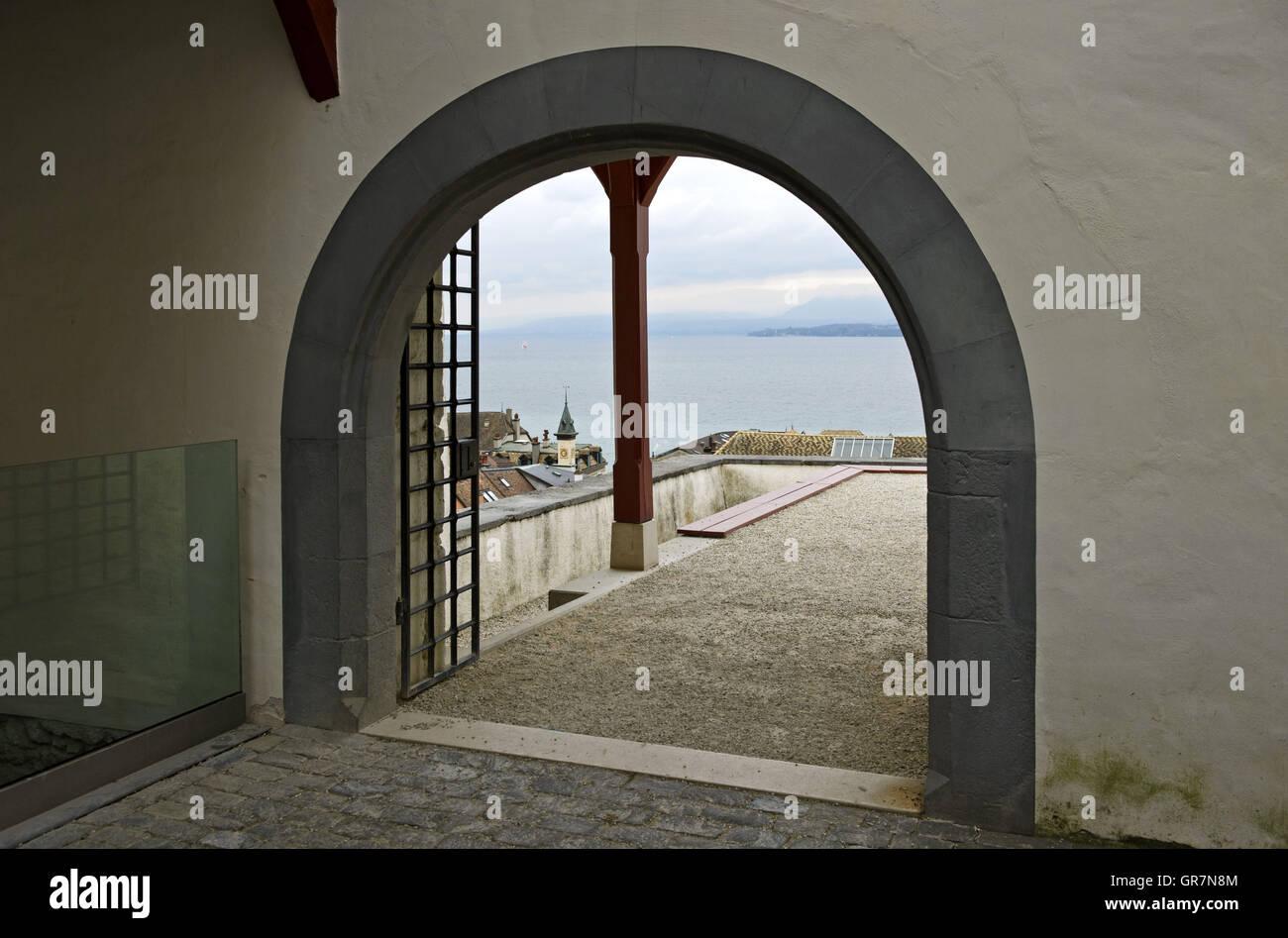 Portal Of The Nyon Castle, Château De Nyon, With View On Lake Geneva, Nyon, Vaud, Switzerland - Stock Image
