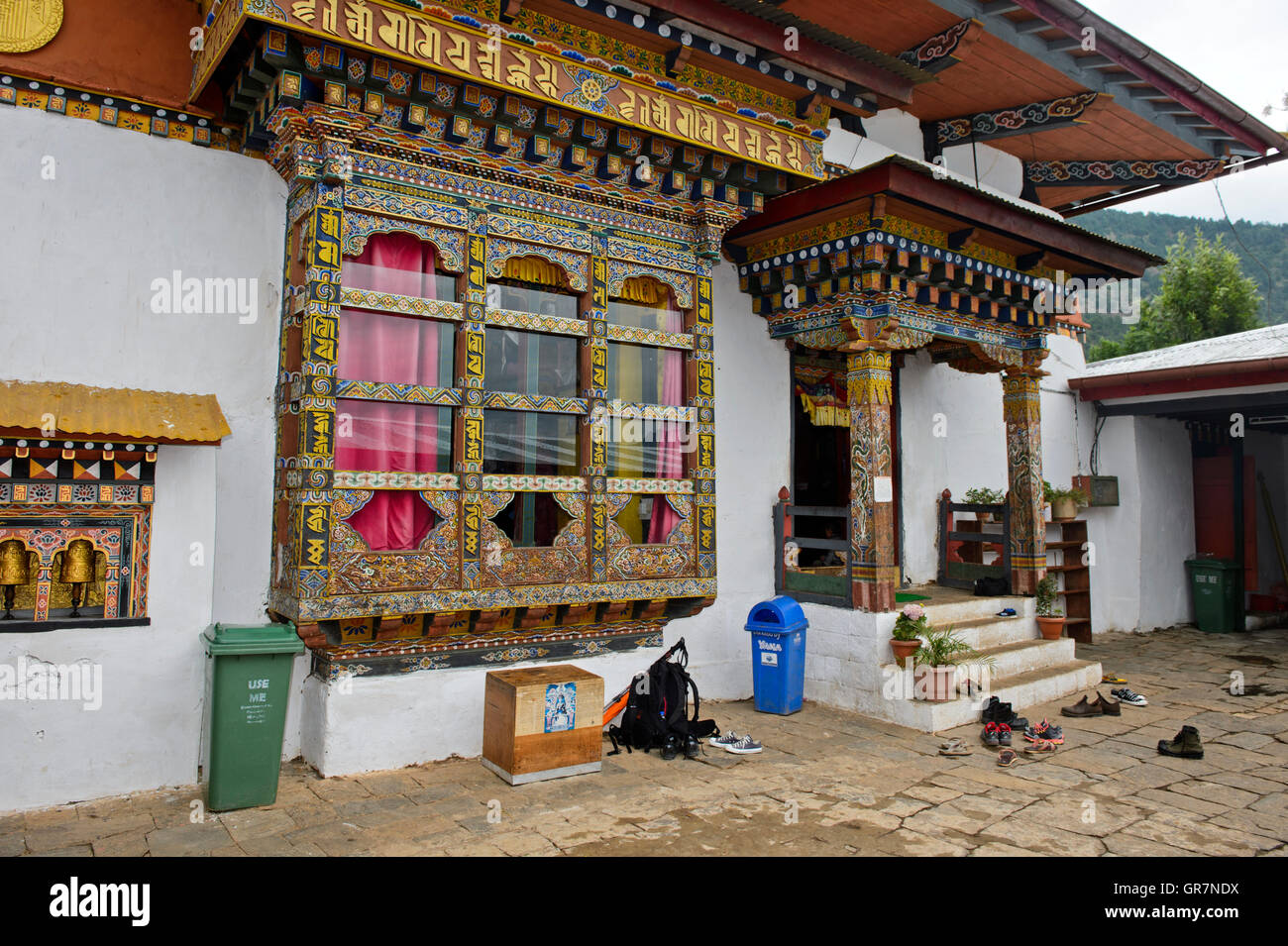 Ornate Window And Entrance To The Inner Temple, Monastery Chime Lhakhang Near Lobesa, Bhutan - Stock Image