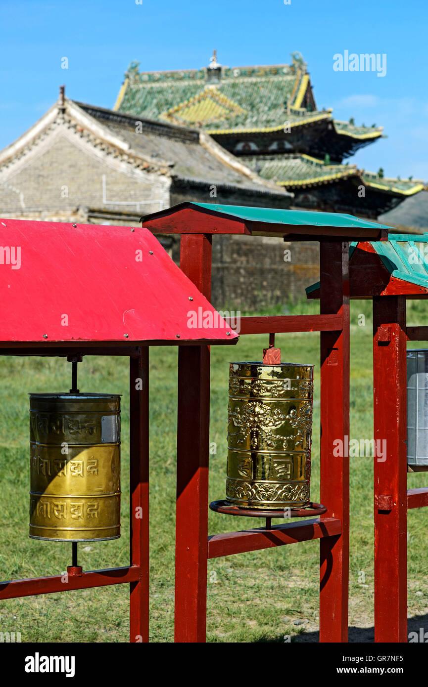 Buddhist Prayer Mills, Monastery Erdene Zuu, Charkhorin, Mongolia - Stock Image