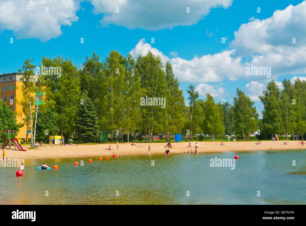 Anne kanali ujula, beach, at Anne kanal, artificial lake, Annelinn district, Tartu, Estonia, Baltic States, Europe - Stock Image