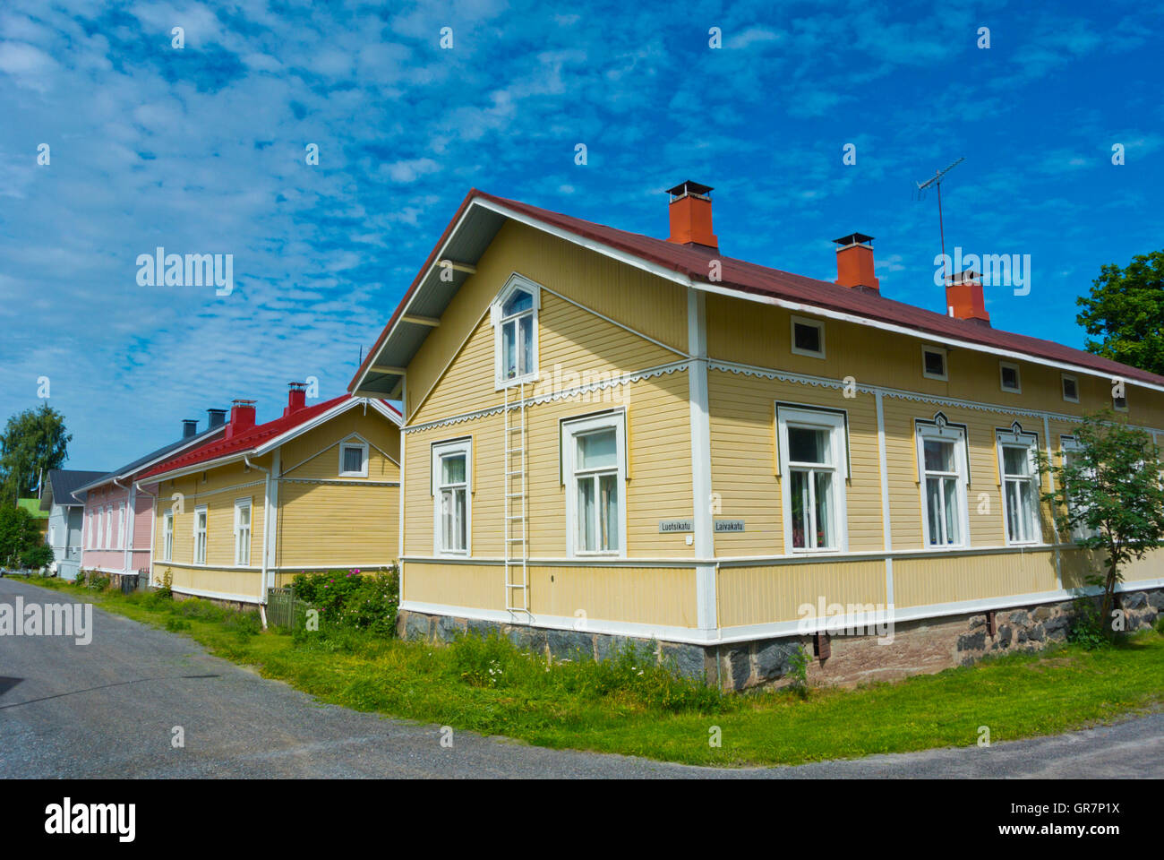 Reposaari, island with wooden houses, Pori, western Finland - Stock Image