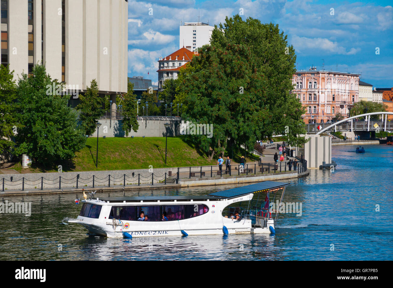 Water taxi, River Brda, Bydgoszcz, Pomerania, Poland Stock Photo