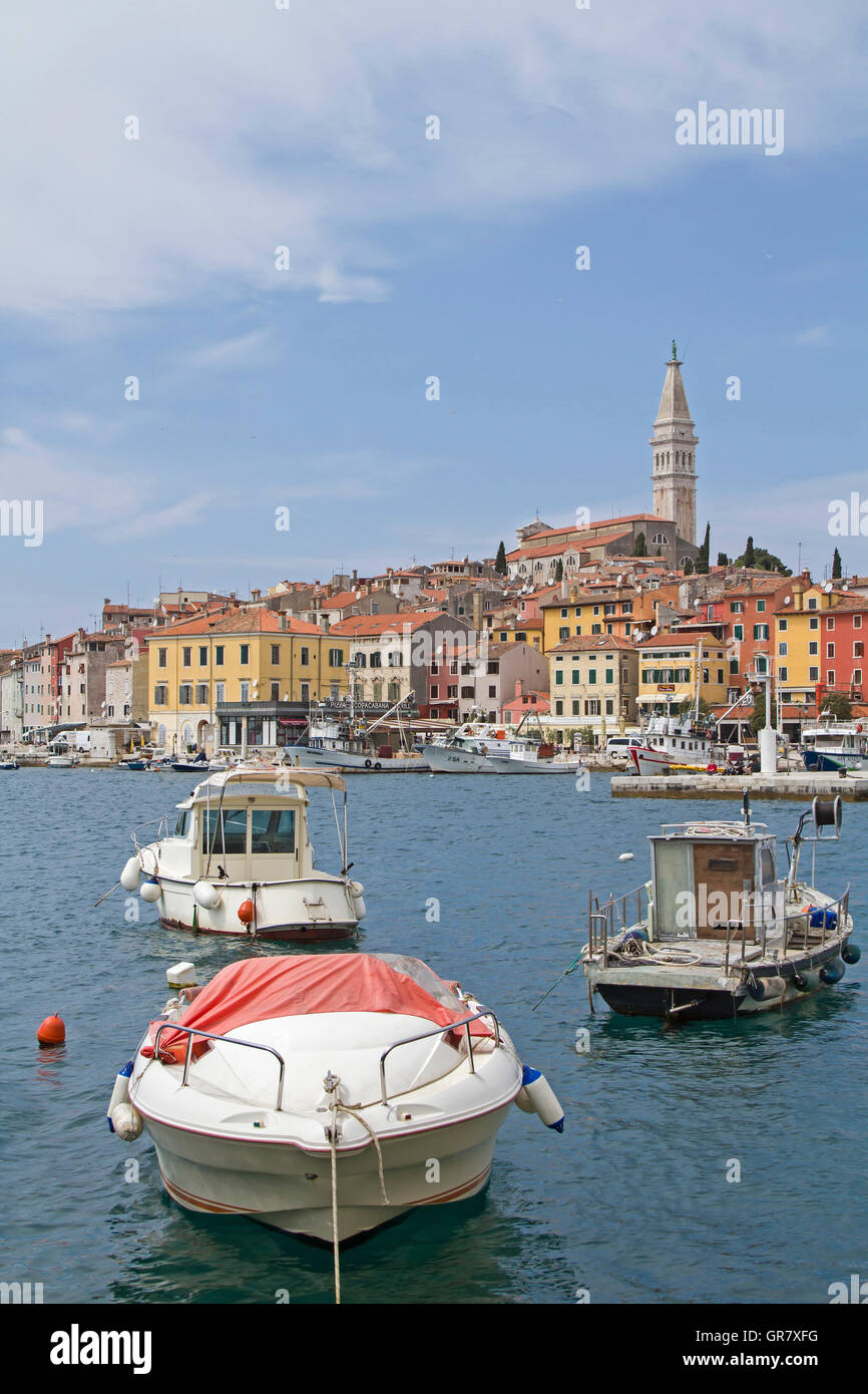 Rovinj Idyllic Croatian Town Picturesquely Situated On A Peninsula - Stock Image