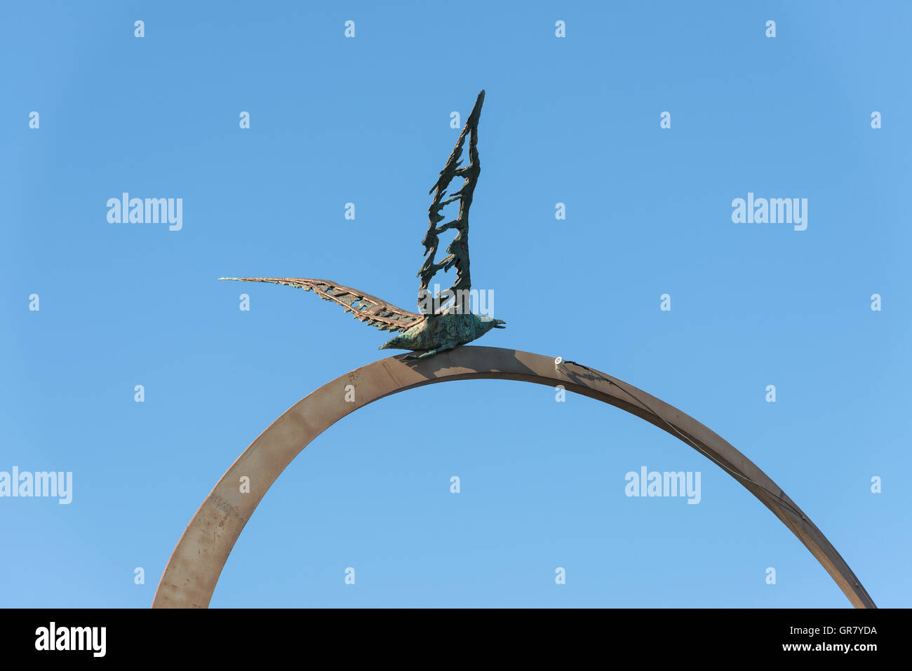 SAN BENEDETTO DEL TRONTO, ITALY - AUGUST 29, 2016: detail of monument freedom symbol seagull Jonathan Livingston Stock Photo