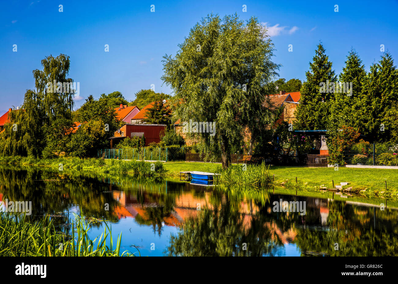 Living At The River - Stock Image