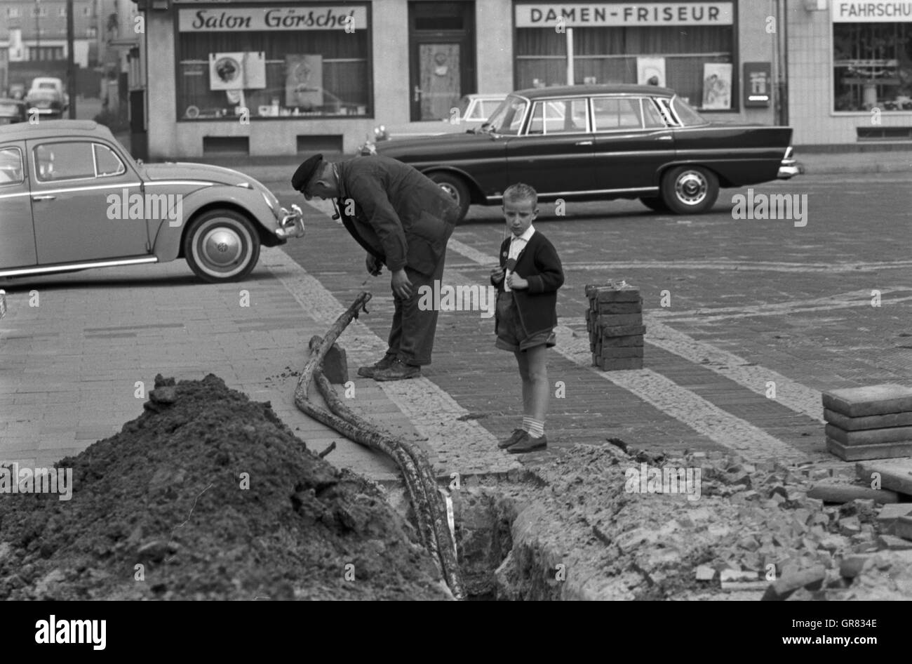 Construction Work Bw 1966 - Stock Image