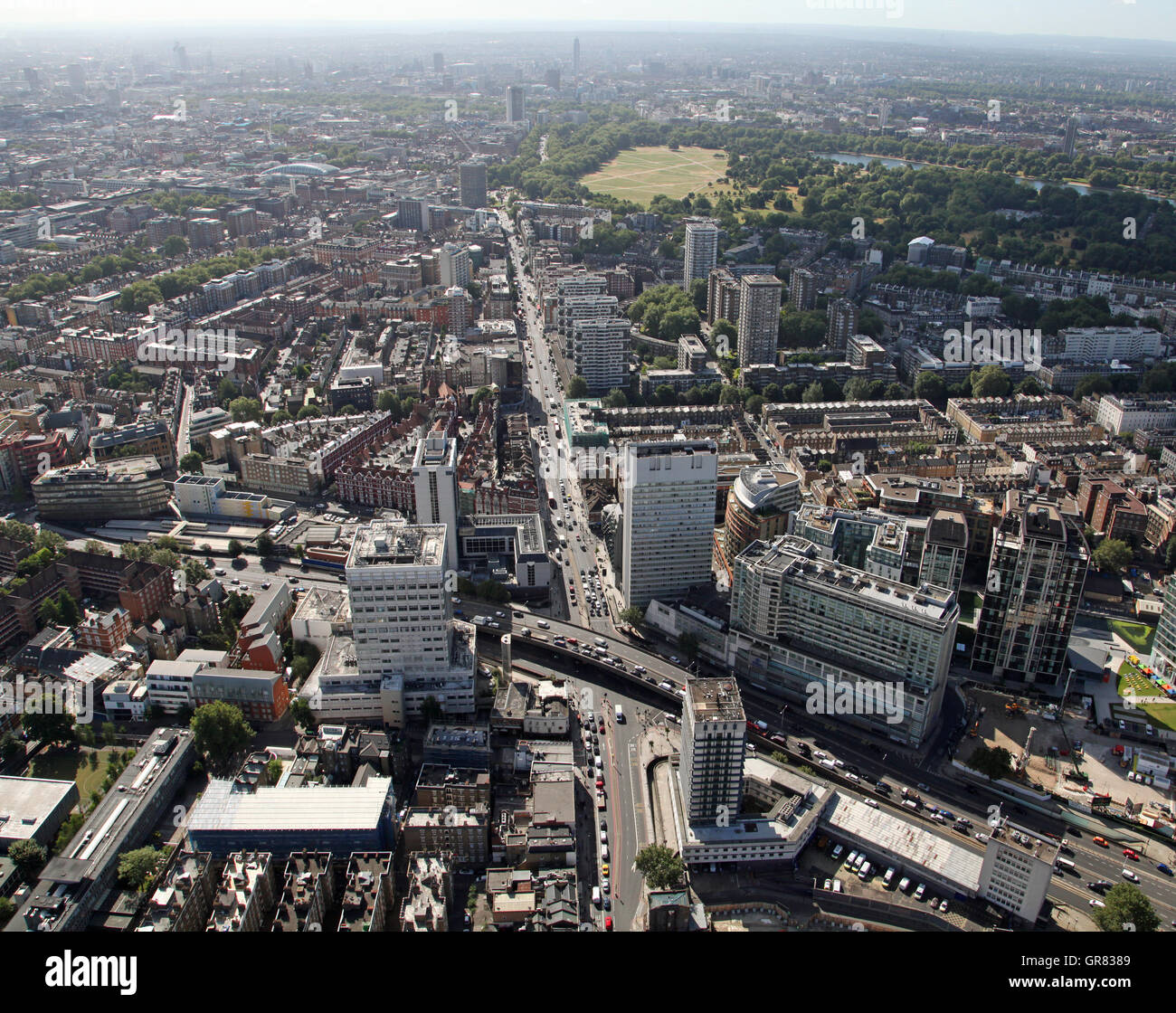 aerial view looking south down the A5 Edgware Road, London from the A4 to Hyde Park Corner, UK - Stock Image