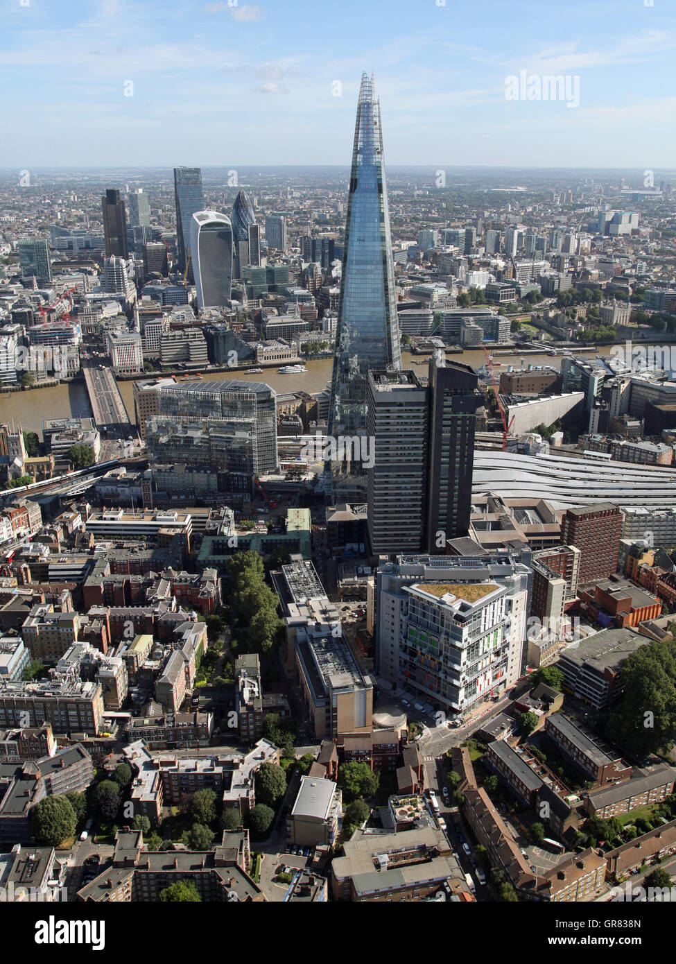 aerial view of Guys Hospital, SE1, The Shard, River Thames and The City, London, UK - Stock Image