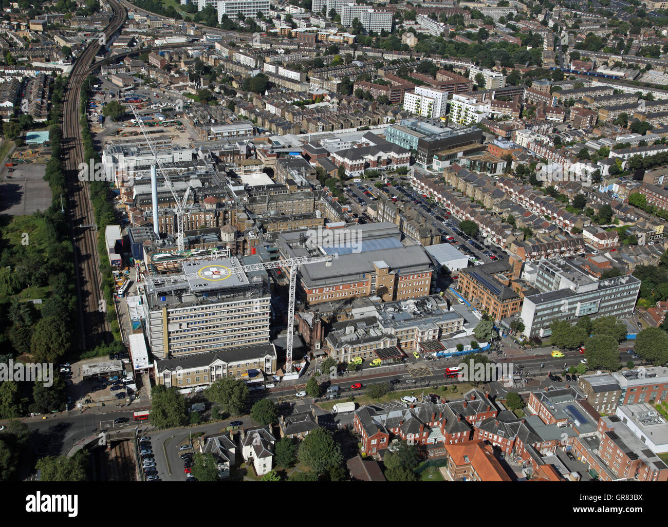 aerial view of Kings College Hospital KCH in Southwark, South London, UK - Stock Image