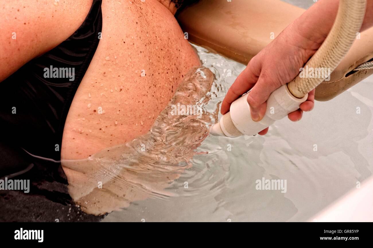 Tangentor Vertebra Underwater Massage In The Spa Bath Cegled - Stock Image