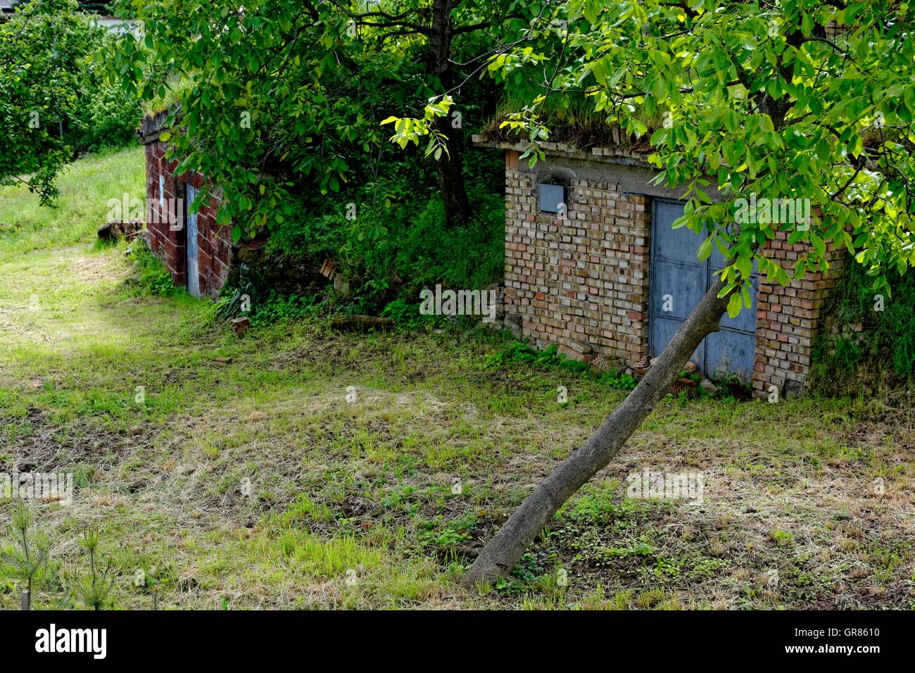 Hidden Press Houses In The Kellergasse Abasár , Hungary - Stock Image