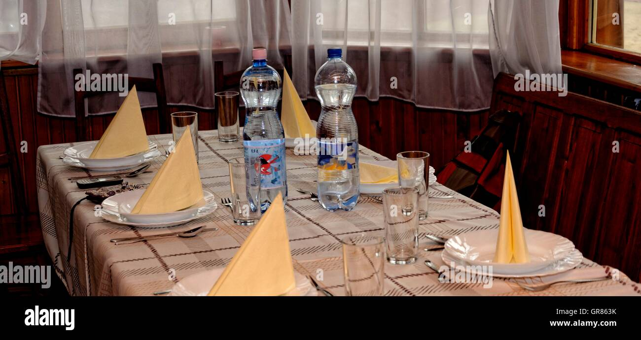 Laid Table With Minerlwasser - Stock Image