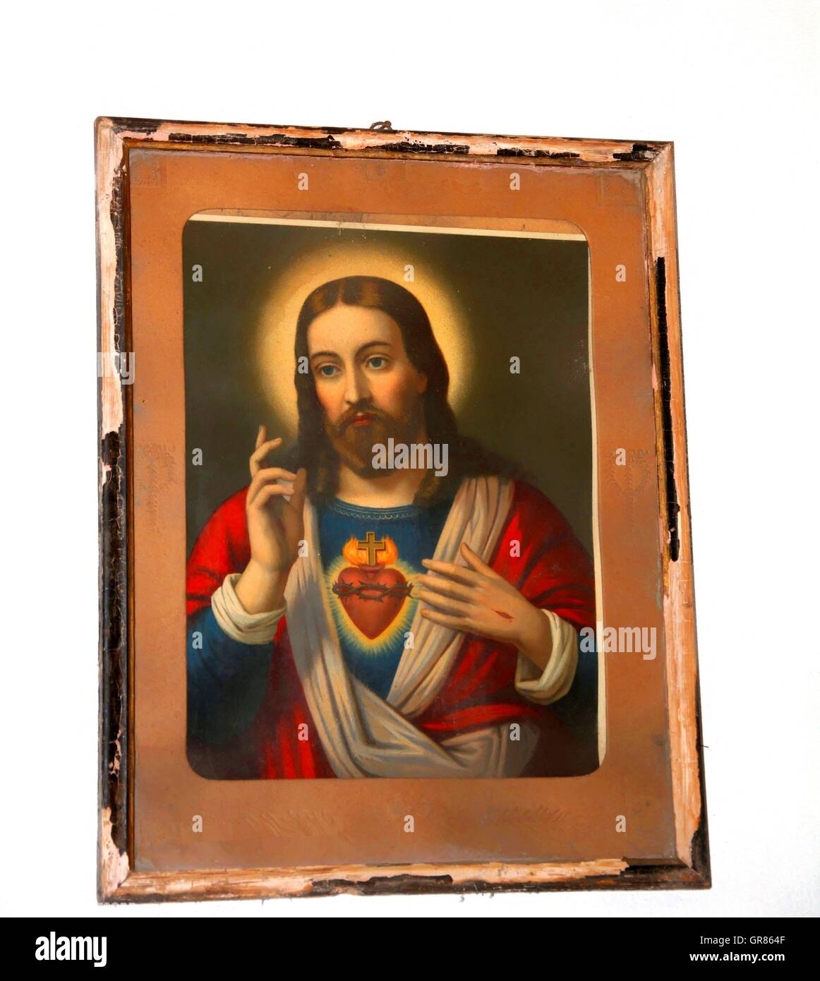 Retro Holy Picture, Heart Of Jesus Devotional Image - Stock Image