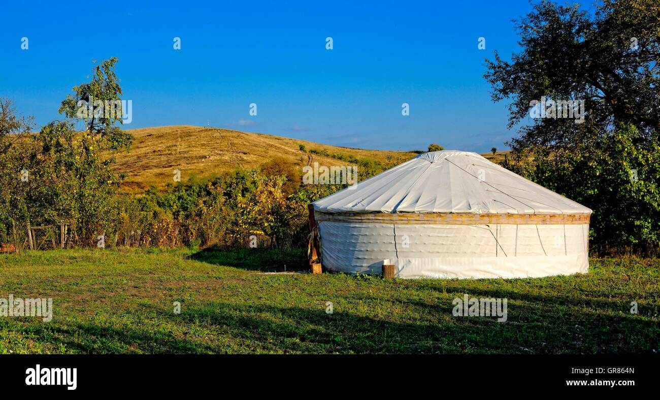 Aesthetic Landscape With Circular Tent, Yurt - Stock Image