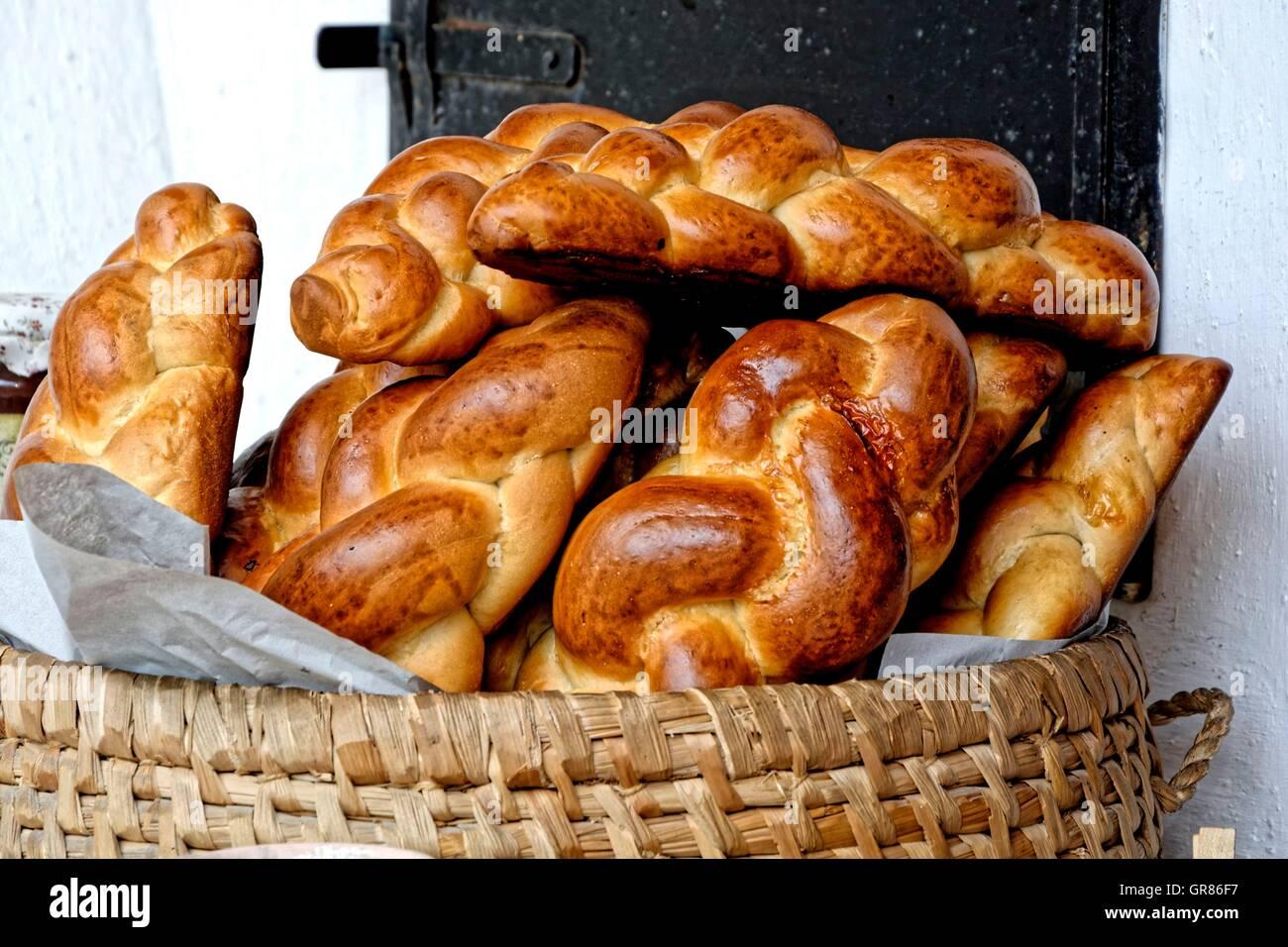 Basketful Yeast Plaits - Stock Image