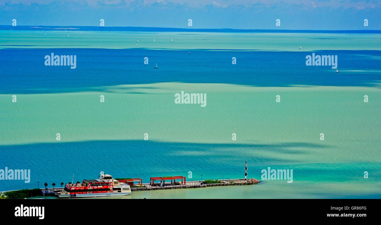 Lake Balaton At Tihany With Sailing Ships - Stock Image