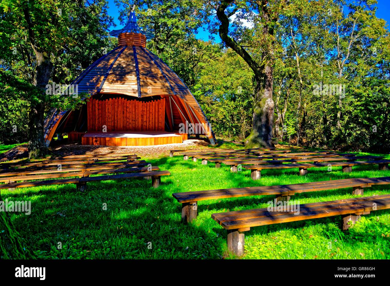 Stage In The Woods - Stock Image