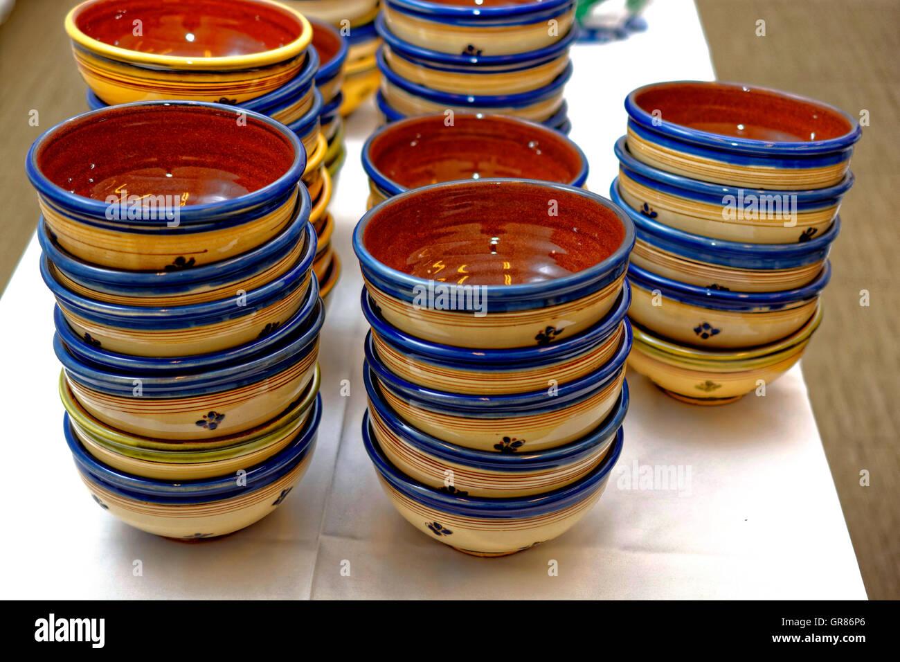 Glazed Stoneware Bowls, Refractory - Stock Image