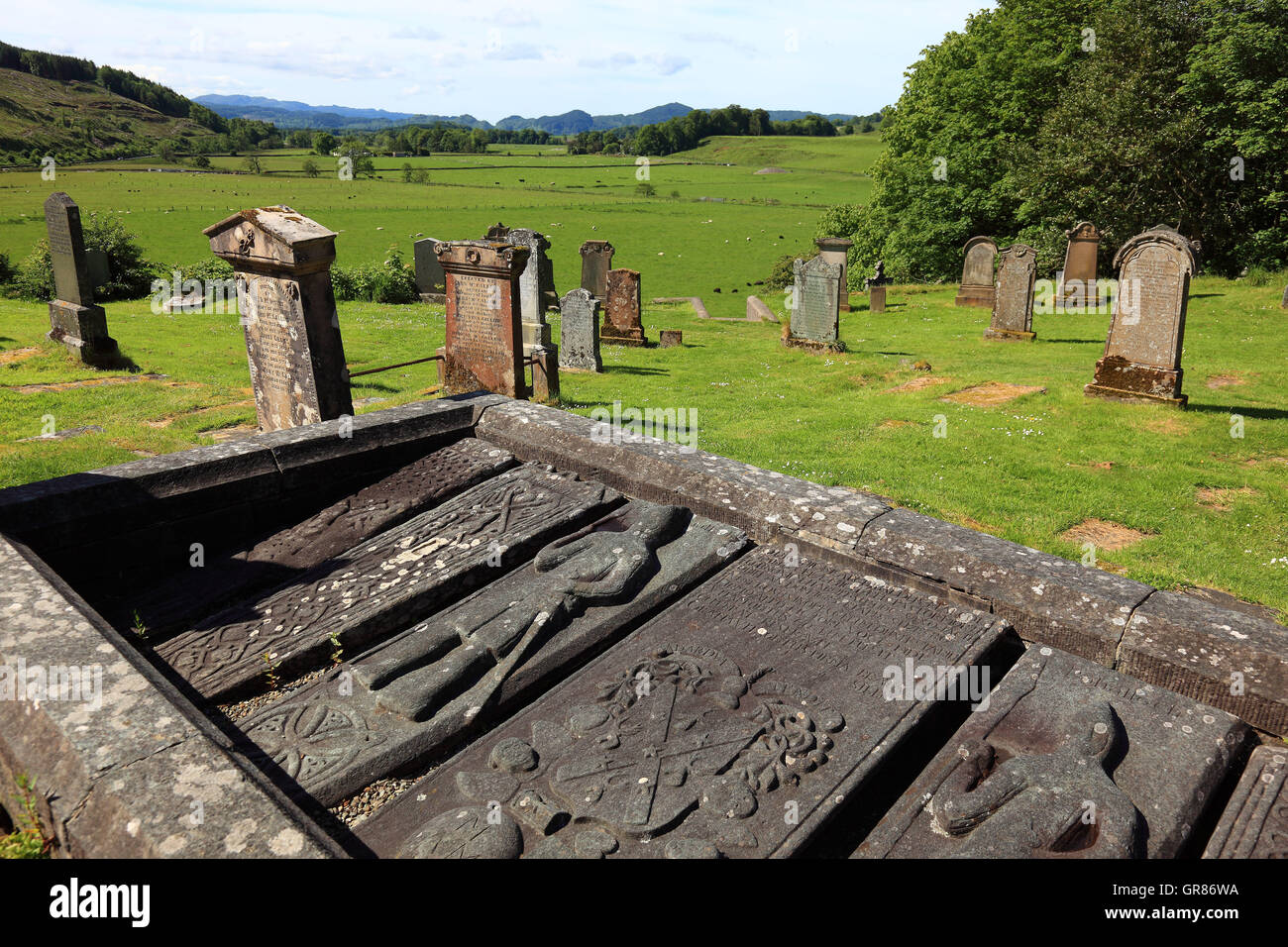 Scotland, cemetery of Kilmartin, crypt with more than 500 year-old grave records - Stock Image