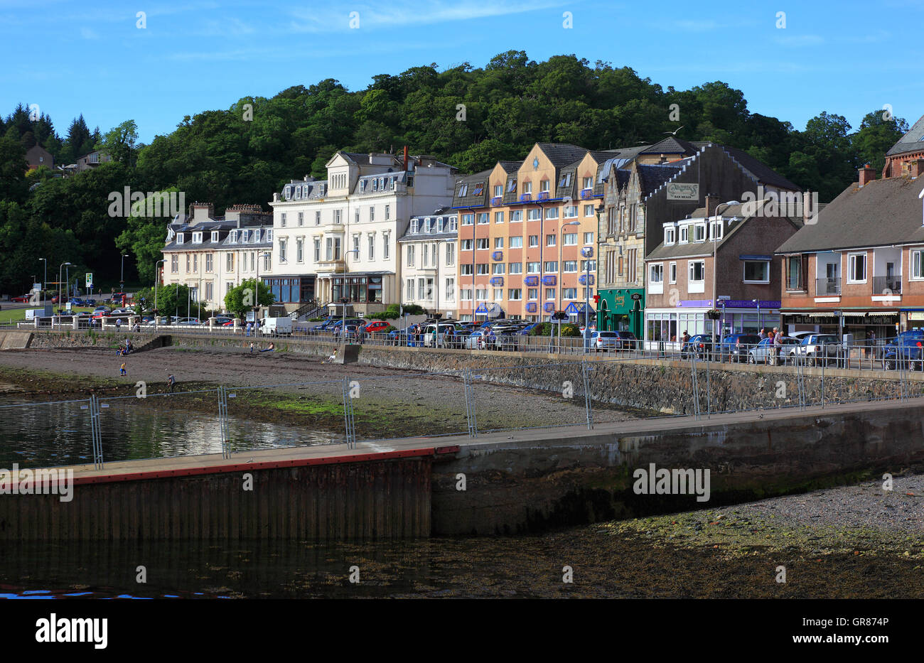 Scotland, Oban city, look at the houses in the Waterfront - Stock Image