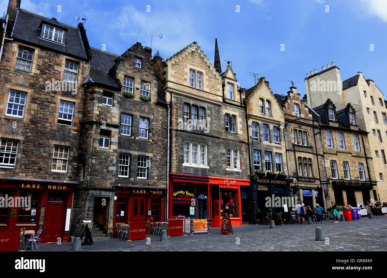 Scotland, Edinburgh, Old Town, houses in the Grassmarket - Stock Image