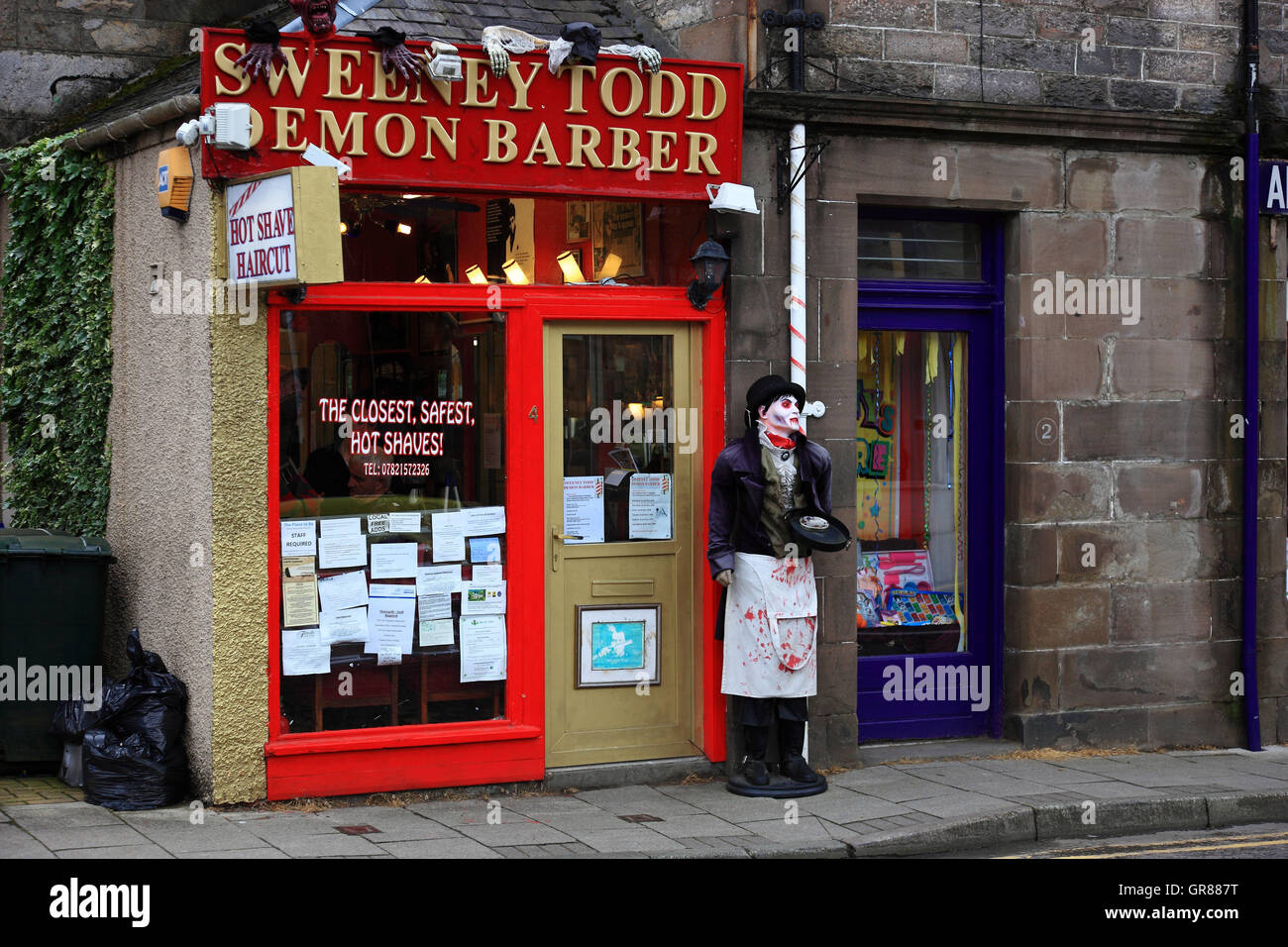 Scotland, hairdresser business in the place Pitlochry - Stock Image