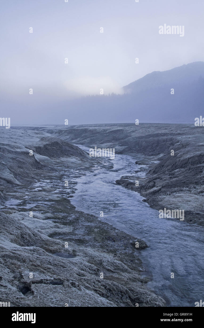 Impressive Natural Spectacle In Drained Reservoir Sylvenstein In Southern Upper Bavaria - Stock Image