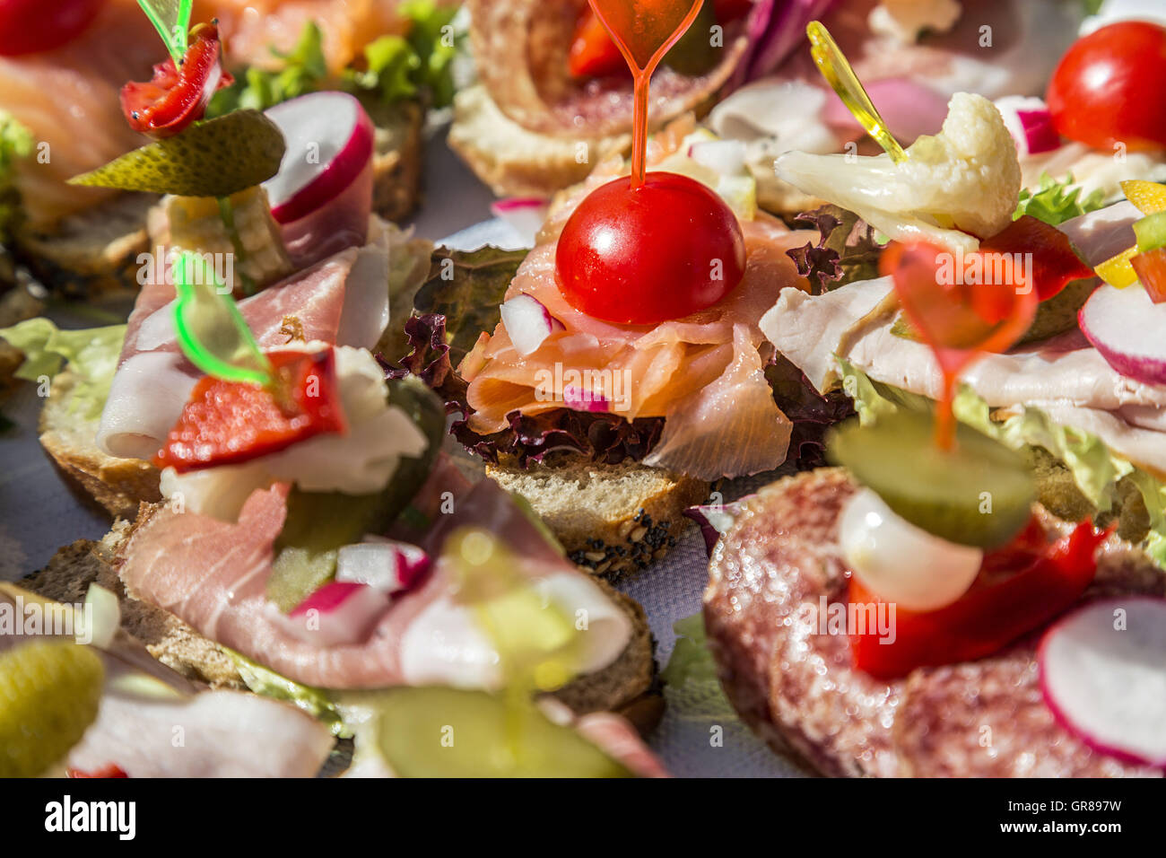 Platters With Sandwiches Decorate The Festive Buffet - Stock Image