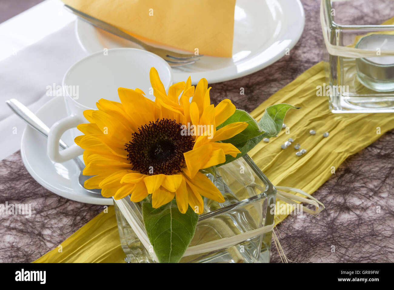 Inviting Covered Table In A Dining Room - Stock Image