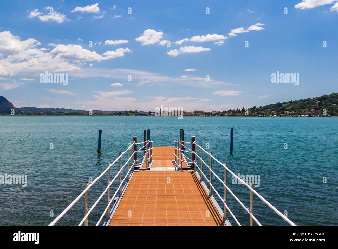marina on the lake - Stock Image