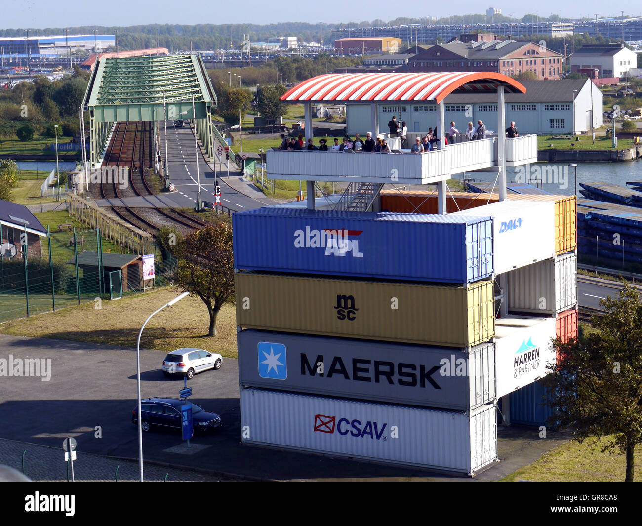 Container Lookout Tower Bremerhaven Stock Photo