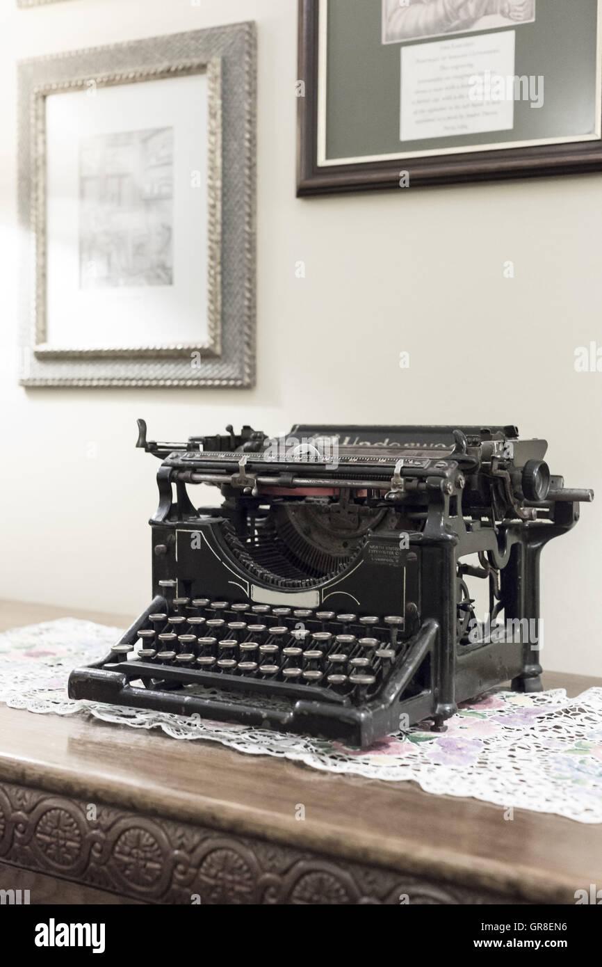 Nostalgic Typewriter Of Grandmother Times - Stock Image