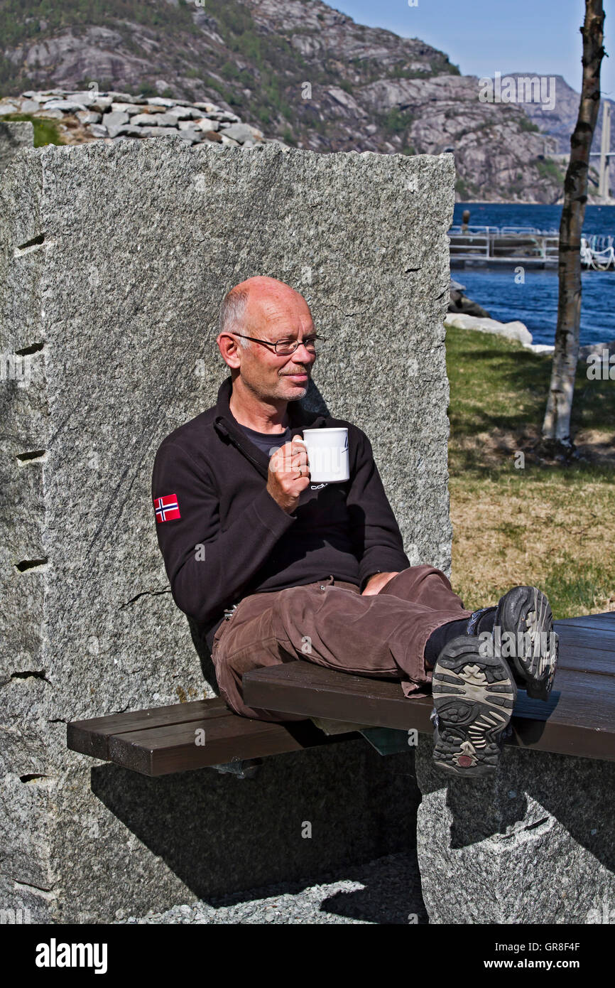 The Inviting Stone Benches On Hogfjorden Invite You To A Trip Interruption - Stock Image